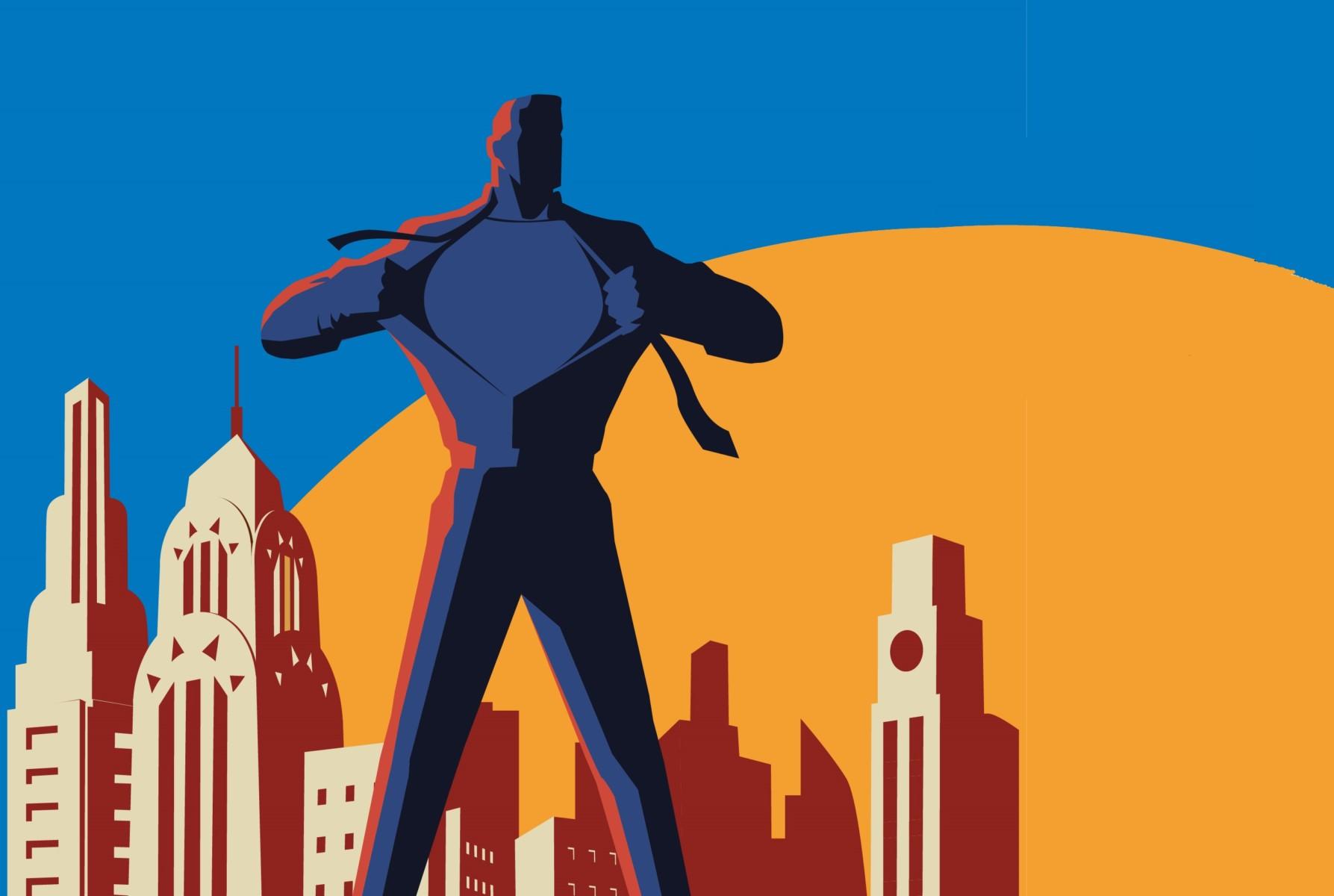 Vector Superhero Transformation Retro Poster